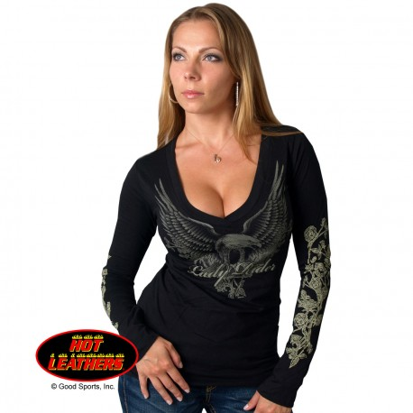 buy popular e1d3c 447c9 T-SHIRT DONNA MANICHE LUNGHE EAGLE RIDER Hot Leathers