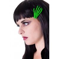 SKELETON GREEN HAIR CLIP