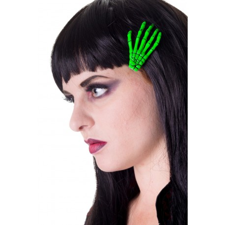 CLIP CAPELLI SKELETON GREEN