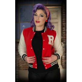 LADIES SWEAT COLLEGE JACKET RED-WHITE