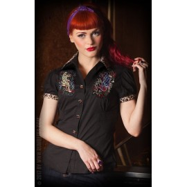 CAMICIA DONNA BORN TO BE WILD LEO PATCH