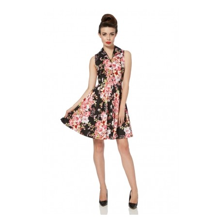 VESTITO FLOWERS BLACK