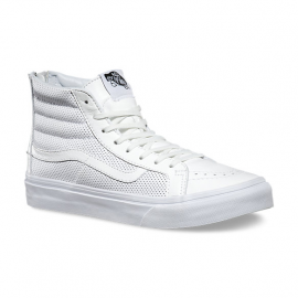 SK8-HI SLIM ZIP PERF LEATHER BIANCO
