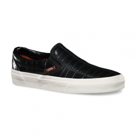 SLIP ON CROC LEATHER BLACK
