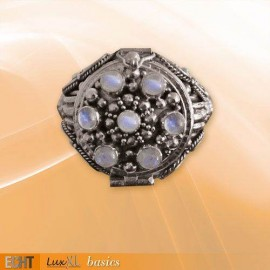 RAINBOW MOONSTONE & SILVER HIDDEN BOX RING