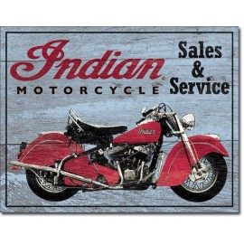 INDIAN PARTS AND SERVICE TIN SIGN