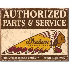 AUTHORIZED INDIAN PARTS & SERVICES TIN SIGN