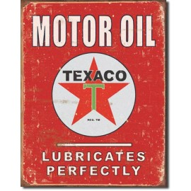 TEXACO LUBRICATES PERFECTLY TIN SIGN