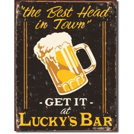 LUCKY'S BAR TIN SIGN