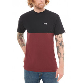 T-SHIRT COLORBLOCK NERO/BORDEAUX