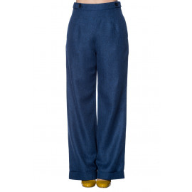 SECRETARY BLUE HIGH WAIST TROUSERS