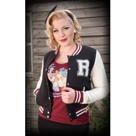 LADIES SWEAT COLLEGE JACKET BLACK-RED