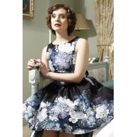 TEA DRESS GRAY ROSE