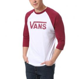 T-SHIRT VANS CLASSIC RAGLAN WHITE/RHUMBA RED