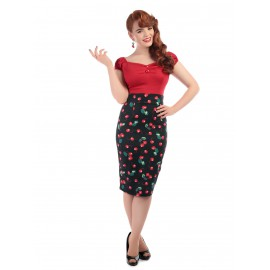 FIONA 50'S CHERRY PENCIL SKIRT