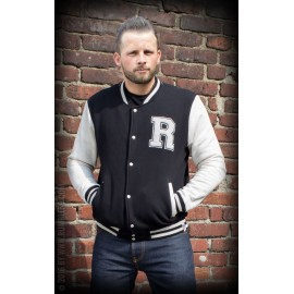 MAN SWEAT COLLEGE JACKET BLACK-WHITE