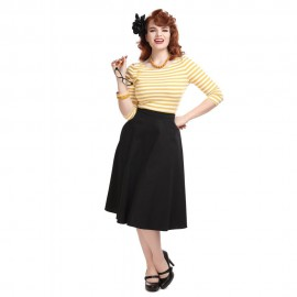 CASSIE CLASSIC COTTON SWING SKIRT BLACK